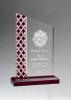 Zenith Series Clear Acrylic with Lattice Pattern and Red Metallic Accent Achievement Awards