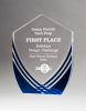 Shield Series Clear Acrylic with Polished Lines and Blue Metallic Accent Sales Awards