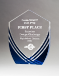 Shield Series Clear Acrylic with Polished Lines and Blue Metallic Accent Achievement Awards