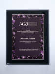 Violet Marble Plate on Black High Gloss Plaque Achievement Awards
