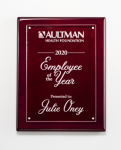 Clear Acrylic Plate on Rosewood High Gloss Plaque Acrylic Plaques