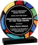 Round Stained Glass Acrylic with Black Base Circle Awards