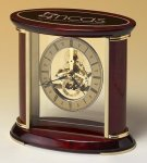 Skeleton Clock with Brass and Rosewood Piano Finish Desk Clocks