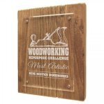 Reclaimed Wood Floating Acrylic Plaque with Magnetic Standoffs Employee Awards