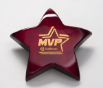 Rosewood Piano-Finish Star Paperweight with Felt Bottom Employee Awards