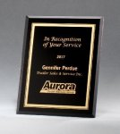 Black Glass Plaques with Gold Borders Employee Awards