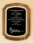 American Walnut Plaque with Florentine Border Employee Awards