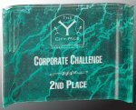 Green Marbleized Acrylic Crescent  Employee Awards