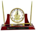 Executive Rosewood Piano Finish Clock/Desk Set Employee Awards