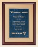 Cherry Finish Wood Plaque with Florentine Plate Golf Awards