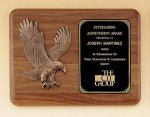 American Walnut Plaque with Eagle Casting Golf Awards