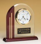 Arched Clock with Rosewood Piano Finish Post and Base Mantle Clocks