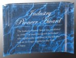 Blue Marbleized Acrylic Crescent Awards Marble Acrylic Awards