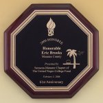 Octagonal Rosewood Piano Finish Plaque Religious Awards