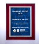 Rosewood High Lustr Plaque with Blue Marble Plate Sales Awards