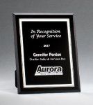Black Glass Plaques with Silver Borders Sales Awards