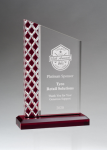 Zenith Series Clear Acrylic with Lattice Pattern and Red Metallic Accent Sales Awards