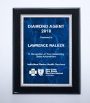 Black High Lustr Plaque with Blue Marble Plate Square Rectangle Awards