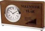 Dark Brown Leatherette Rectangle Desk Clock Square Rectangle Awards