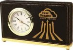 Black Leatherette Rectangle Desk Clock Square Rectangle Awards